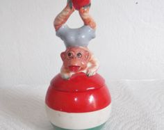 Vintage Salt and Pepper Circus Monkey Shaker Set 1950's - 1960's Collectible Ceramic Salt & Pepper Shakers Nippon Japan