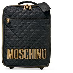 Moschino Leather-appliquéd quilted satin-shell travel trolley ($820) ❤ liked on Polyvore featuring bags, luggage and black