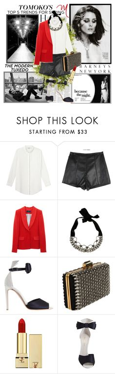 """Tomoko Ogura's Spring Trends: Tuxedo Dressing"" by molnijax ❤ liked on Polyvore featuring Barneys New York, SAM., Monki, Marni, Gianvito Rossi, Lanvin, Yves Saint Laurent, bib necklaces, bow sandals and statement necklaces"