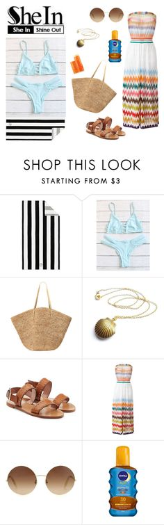 """""""SheIn - Blue Bikini - Summer Beach Look"""" by kimber-rose on Polyvore featuring Pottery Barn, Flora Bella, RED Valentino, Missoni, Victoria Beckham, Nivea and Fresh"""