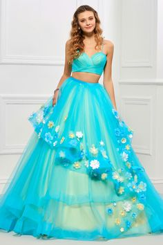Sweet V-Neck Flower Applique Lace-Up Ball Gown Dress 11435413 - Quinceanera Dresses - Dresswe. Ball Gown Dresses, Fall Dresses, 15 Dresses, Fashion Dresses, Formal Dresses, Reception Dresses, Quinceanera Dresses, Homecoming Dresses, Quinceanera Ideas