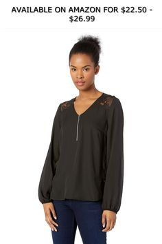 e7278fcfcac35 A. Byer Women s Long Sleeve Chiffon Top with Lace Shoulders ◇ AVAILABLE ON  AMAZON FOR