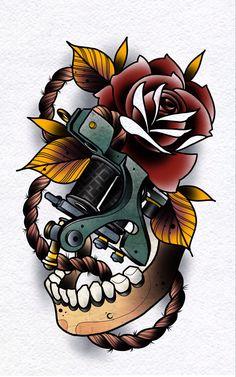 Skull Tattoos, New Tattoos, Floral Tattoo Design, Tattoo Designs, Mayan Tattoos, Traditional Style Tattoo, Alien Concept Art, Zodiac Sign Tattoos, Tatuagem Old School