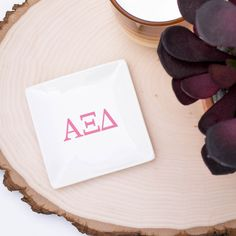 Set of 3 Alpha Gamma Delta Trays perfect for jewelry, hair pins, loose change and sorority pin. Simple white ceramic dishes pop with your choice of color! Jewelry Tray, Jewelry Dish, Ceramic Jewelry, Delta Phi Epsilon, Delta Zeta, Alpha Gamma, Tri Delta, Phi Mu, Sigma Kappa
