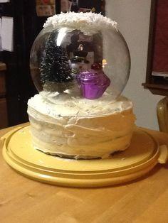 December birthday cake snow globe.