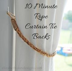 DiY 10 minute rope curtain tie backs, crafts, how to, window treatments, windows - Love this idea for a Western or Nautical themed room Curtain Tie Backs Diy, Rope Curtain Tie Back, Rope Tie Backs, Drop Cloth Curtains, Curtain Ties, Diy Curtain Tiebacks, Macrame Curtain, Outdoor Curtains, Hanging Curtains
