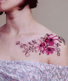 New Fabulous Pink Flower Watercolor Tattoo Design on Shoulder for Women