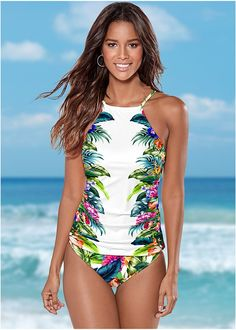 Venus Women's Plus Size High Waist Moderate Bikini/Swimsuit Bottoms - Multi/white , 16