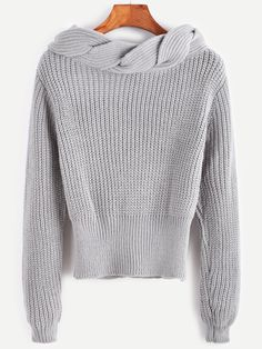 20$  Watch now - http://dii0b.justgood.pw/go.php?t=14023 - Grey Twisted Knit Trim Sweater 20$