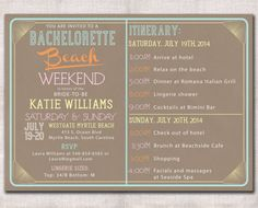 Bachelorette Party Weekend invitation and by DarlinBrandoPress