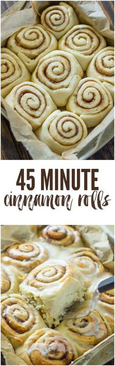 45-Minute Cinnamon Rolls ~ fluffy and soft cinnamon rolls that taste even better than Cinnabon and are ready in under an hour!