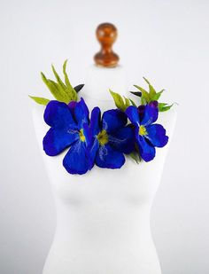 Felted Necklace Forgetmenot Necklace FORGETMENOT COLLAR by filcant