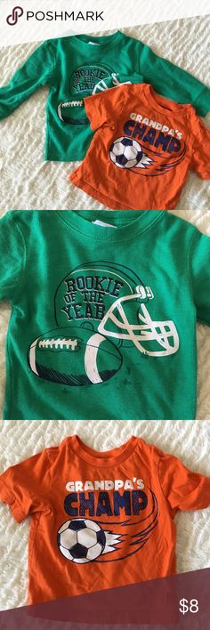 Sport Tees for Toddler Both 18 months • Boy Toddler• Green Long Sleeve Tee has NBW• Orange tee is in Good Condition• Shirts & Tops Tees - Long Sleeve