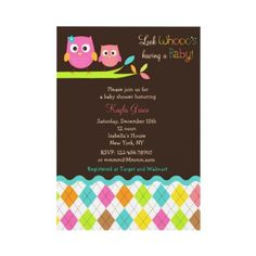 Love the trendy colorful argyle pattern at the bottom of this owl baby shower invite