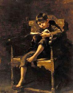 """A Good Read"". Ralph Hedley (1848 – 1913). English painter."