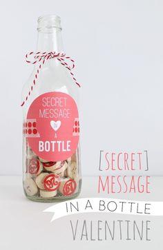 {Secret} Message in a Bottle Valentine--love the idea My Funny Valentine, Valentine Messages, Valentine Day Cards, Valentines Diy, Secret Valentine, Valentines Ideas For Your Kids, Diy Valentine Gifts For Boyfriend, Boyfriend Gifts, Surprise Gifts For Him
