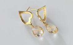 earrings in gold and rutile quartz © www.mariebenedicte.com