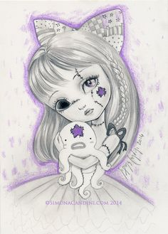 Don't Be Scared LIMITED EDITION only 10 print signed numbered Simona Candini Broken Doll Girl Octopus Purple star cute baby