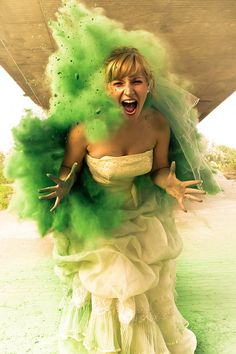 Cute trash the dress session with colored powder
