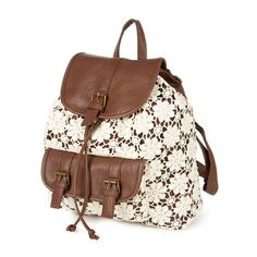 """<P>Give your look boho chic style with this backpack. The brown faux leather backpack features an ivory crochet overlay in a pretty floral design. One front pocket with flap snap closure. Inside pockets, adjustable straps and flap snap and drawstring closure.</P><UL><LI>12 1/2""""L x 13""""H x 4 1/4""""W</LI></UL>"""
