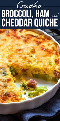 Crustless Quiche with Broccoli Ham and Cheese! Ham broccoli and cheese take center stage in this crustless quiche! It's low-carb gluten-free and full of rich creamy goodness! Breakfast Quiche, Breakfast Dishes, Breakfast Recipes, Low Carb Quick Breakfast, Healthy Recipes, Low Carb Recipes, Cooking Recipes, Cooking Tips, Ham And Broccoli Quiche