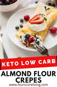 Easy to make Almond Flour Crepes are light and delicious and ready for your favorite fillings. These crepes are low-carb, sugar-free, and keto friendly. Make Almond Flour, Slow Carb Recipes, Keto Snacks, Keto Dinner, Low Carb Keto, Crepes, Hot Dog Buns, Sugar Free, Meal Prep
