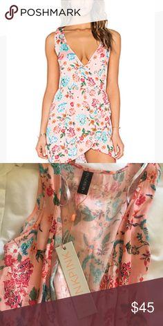 Floral wrap dress Adorable brand new MINKPINK pink floral wrap dress MINKPINK Dresses Mini
