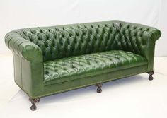 Pine Green Leather Tufted Sofa Western Sofas And Loveseats   This Pine  Green Leather Sofa Will
