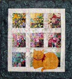 """Cat Nap"" Watercolor Quilt Kit, design by Mim Schlabach"