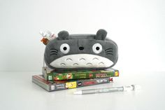Kawaii Japanese anime My Neighbor Totoro pencil case plush / Cosmetic makeup pouch soft and cute gray and white by OSUStationery on Etsy https://www.etsy.com/listing/219097778/kawaii-japanese-anime-my-neighbor-totoro