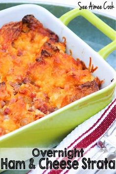 Overnight Ham and Cheese Strata - the perfect Christmas morning breakfast! | See Aimee Cook