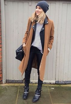 Camel coat + leather jacket + striped top + skinny jeans + chain boots