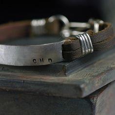 Mens Leather Cuff Bracelet CUSTOM Stamped message - anniversary - wedding gift - latitude longitude - Studio Jewel design. $164.00, via Etsy.