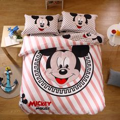 100% Cotton Set Mickey Mouse Mickey Mouse Bed Set Brown Bedding Sets Twin Full Queeen King New Arrival