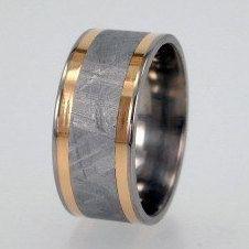 Meteorite Ring, 18K Yellow Gold Pinstripes, Titanium Band