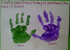 Crafts For Preschoolers: Making Friends - Toddlers Friendship Week - Preschool Projects, Daycare Crafts, Preschool Lessons, Preschool Classroom, Preschool Art, In Kindergarten, Preschool Activities, Kids Crafts, Manners Activities