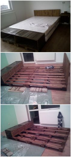 #PalletBed, #PalletHeadboard, #ReclaimedPallet Four pallets, one headboard and, of course, one big mattress for a dreamy dream!