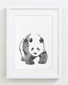 Black and White Art Panda  Watercolor Print  5x7 by ElfShoppe, $15.00