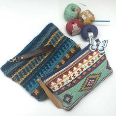 Crochet Handbags Ethnic Handbag - free charted tapestry crochet pattern in English and Spanish by Ana Alfonsin / molanmiscalcetas - Crochet Clutch, Crochet Handbags, Crochet Purses, Crochet Bags, Diy Crochet, Crochet Crafts, Quick Crochet, Mochila Crochet, Tapestry Crochet Patterns