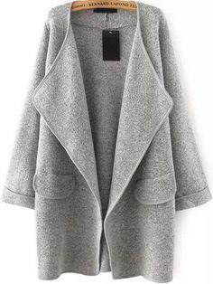 Fall Fashion Grey Lapel Long Sleeve Loose Sweater Coat - Crystalline