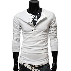 Mens Casual layered style pocket tshirts WHITE
