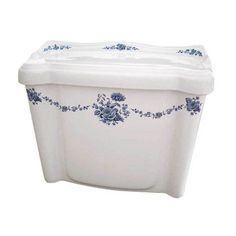 Blue and white hand painted toilet tank Inspired by Delft china. Works great in any bathroom interior from traditional to contemporary. By decoratedbathroom.com
