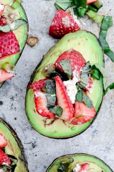 Baked Avocados with Strawberry Salsa #healthy #snack #avocado