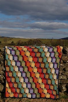 Free Pattern: 3D Blocks Throw by Kaffe Fassett