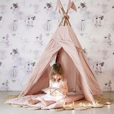 Recreate this dreamy space with the Numero74 teepee, Armadillo&Co Daisy rug & Oh Clouds wallpaper - ON SALE NOW! And remember you can buy now & pay later, interest free on all purchases up to $800