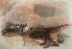 """Joan Eardley and her pastel landscapes: Joan Eardley, """"Catterline Cottages,"""" c. pastel on paper, 9 x 13 in, Private Collection Pastel Landscape, Landscape Artwork, Abstract Landscape Painting, Abstract Art, Pastel Artwork, Glasgow School Of Art, Popular Artists, Western Art, Artist At Work"""