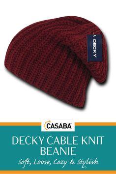 06b8cffafa4817 Decky Cable Knit Beanies Soft Loose Cozy Stylish Slouch Light Hats Caps  Winter