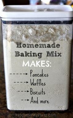 DIY Bisquick mix, this stuff is awesome! Homemade baking mix makes pancakes waffles and more! happymoneysaver.com
