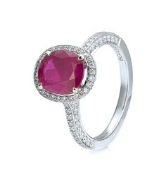 <p>A colourful, decorative engagement ring from Boodles' Vintage collection</p> <ul> <li>Set with a 2.00ct oval-cut ruby</li> <li>Surrounded by a further 1.05ct of round-brilliant cut diamonds</li> </ul> <p>In platinum.<br /><br /></p>