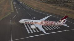 """Qantas Boeing Dreamliner VH-ZND """"Emily Kame Kngwarreye"""" turning around to backtrack on after arriving at Alice Springs Airport on it's delivery flight, March The fourth for Qantas exhibits the special """"Yam Dreaming"""" livery. Helicopter Cockpit, Australian Airlines, Boeing 787 9 Dreamliner, Boeing Aircraft, Air Photo, Air Festival, Alice Springs, Experimental Aircraft, Vintage Airplanes"""